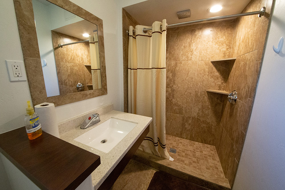 Bathroom and shower at The Meadows