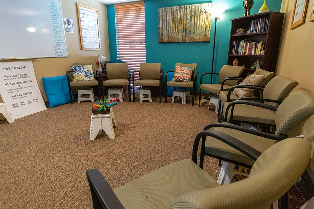 Turquoise group room at The Meadows