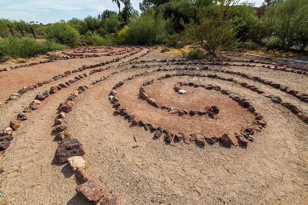 Circle of rocks in a zen garden